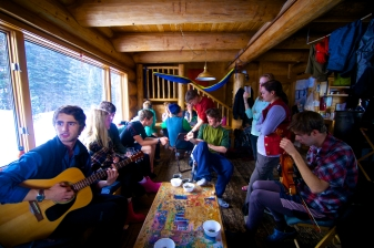 Lots of fun times playing tunes and relaxing in the hut.