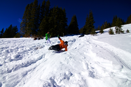 Zach forgetting how to sled.