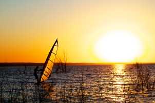 Windsurfing into the Sunset