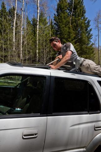 Stick thievery through sunroof. Fail!