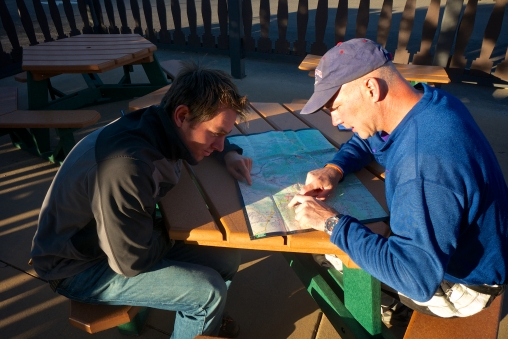 Planning the route over pancakes at Mesa Verde camp-store.