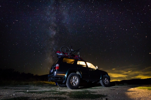 Night campspot off the freeway in Wyoming